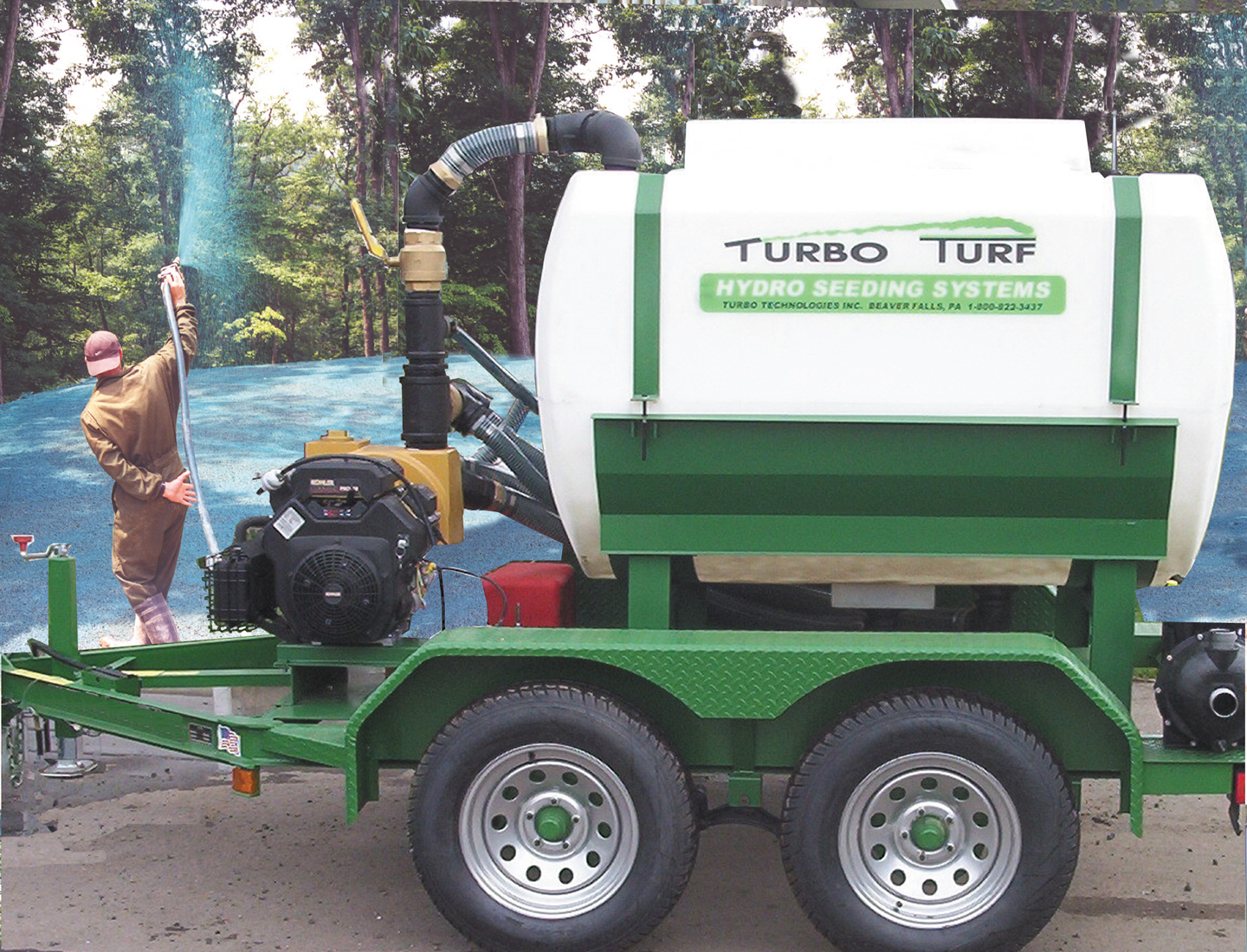 Turbo Turf HS-500-XPW-P hydro seeding a back yard