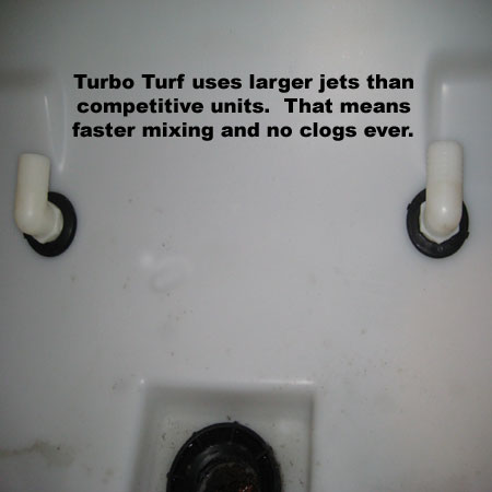 Turbo Turf Hydroseeders have larger jets than others