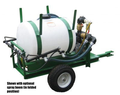 HS-50-P pull type hydroseeder with spray boom folded