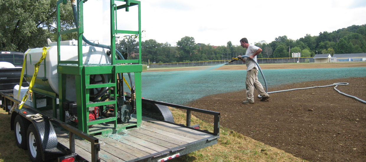 Hydroseeding a soccer field at Seneca Valley High School