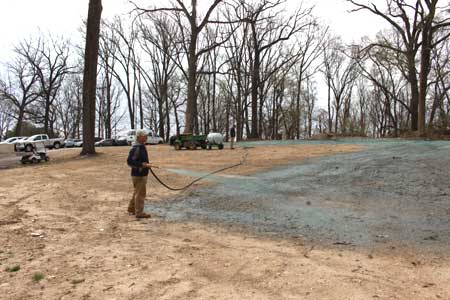 Using a 150 Gallon Turbo Turf Hydroseeder for golf course construction
