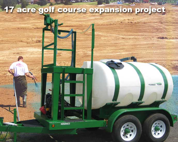 Hydroseeding a 17 acre golf course expansion project