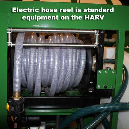 An electric rewind hose reel is standard on the HARV