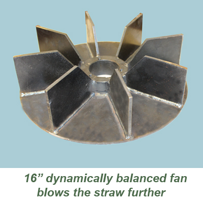 """The 16"""" fain blows further than top loading straw blowers"""