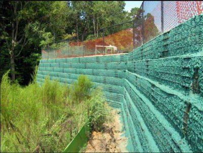 Wall hydroseeding project in NC using Flexterra