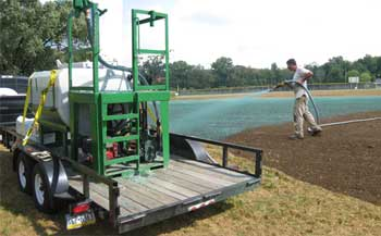 Turbo Turf HM-500-T hydroseeding a soccer field